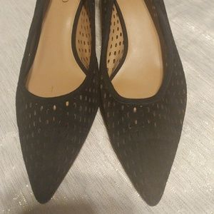 Franco Sarto Dew Perforated Eyelet Heels Black 9M